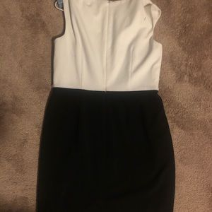 Calvin Klein White & Black Sleeveless Dress
